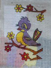 Bird with Flower Printed 6 Count Binca Cross Stitch Kit